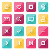 Elementos lisos do projeto de UI - grupo de ícones básicos da Web Imagens de Stock
