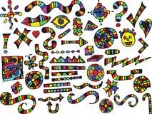 Elementos locos y coloridos del diseño Foto de archivo