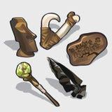Elementos mágicos, ídolo, calendário antigo ilustração royalty free