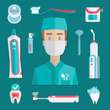 Elementos médicos de la higiene de los dientes Foto de archivo libre de regalías