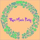 Elementos a mano del evento del partido de la música del delirio libre illustration