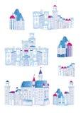 Elementos medievales del vector del diseño de los castillos del invierno Foto de archivo libre de regalías