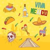 Elementos mexicanos Imagem de Stock