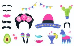 Elementos mexicanos del partido de la fiesta y apoyos de la cabina de la foto fijados Diseño del vector Imagen de archivo libre de regalías