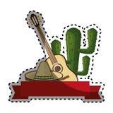 Elementos mexicanos tradicionales de la colección determinada de la etiqueta engomada con el cactus Imagenes de archivo