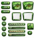 Elementos militares dos ícones de Camo para o jogo de Ui Fotografia de Stock Royalty Free