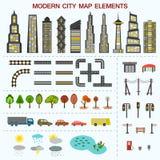 Elementos modernos del mapa de la ciudad Fotos de archivo