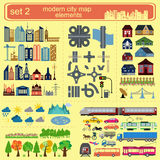 Elementos modernos del mapa de la ciudad para generar su propio infographics, m ilustración del vector
