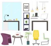 Elementos modernos do interior do escritório Coleção do mobiliário de escritório ilustração do vetor