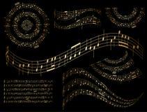 Elementos musicales del diseño del oro - sistema Foto de archivo libre de regalías