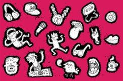 Elementos musicales Doodled con la colección de la gente del partido Fotografía de archivo