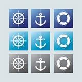 Elementos náuticos Imágenes de archivo libres de regalías
