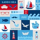 Elementos náuticos del diseño del mar Imagen de archivo