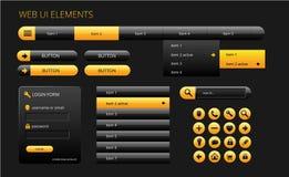 Elementos negros y amarillos modernos del ui del web Imagenes de archivo