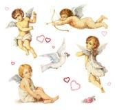 Elementos nostálgicos del diseño: ángeles, palomas y rosas Imagen de archivo libre de regalías