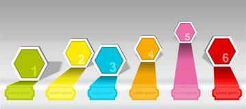 Elementos numerados cronología de las opciones del hexágono de Infographics Imagen de archivo