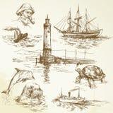 Elementos náuticos desenhados mão Fotos de Stock Royalty Free
