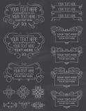 Elementos ocho de la caligrafía de la pizarra del vintage Imagen de archivo