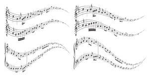 Elementos ondulados com notas da música Imagem de Stock Royalty Free