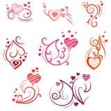 Elementos ornamentado do projeto com corações Imagem de Stock Royalty Free