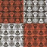 Elementos ornamentado em forma de leque escuros do vintage sem emenda tradicional com testes padrões gregos imagens de stock royalty free
