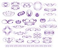 Elementos ornamentales del diseño, serie púrpura Foto de archivo libre de regalías
