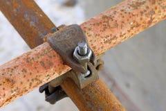 Elementos oxidados del andamio del metal Foto de archivo