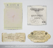 Elementos para a disposição, papel velho amarrotado/vetor Imagens de Stock