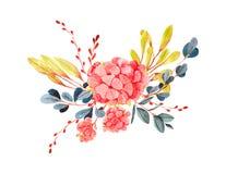 Elementos para el diseño en un tema de la primavera, en el estilo de la acuarela Imagenes de archivo