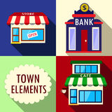 Elementos para el ejemplo de la ciudad Foto de archivo libre de regalías