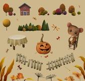Elementos para el ejemplo del otoño stock de ilustración