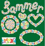 Elementos para el verano o el diseño de la primavera Fotografía de archivo libre de regalías