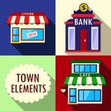 Elementos para a ilustração da cidade Foto de Stock Royalty Free
