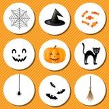 Elementos para o feriado de Dia das Bruxas do projeto Imagem de Stock Royalty Free