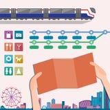 Elementos para o molde do projeto do mapa do metro ou do metro Imagens de Stock Royalty Free