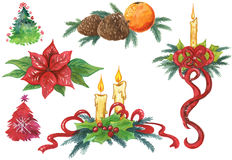 Elementos pintados mão do Natal Imagem de Stock Royalty Free