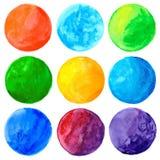 Elementos pintados mão do projeto da forma do círculo da aguarela Imagens de Stock Royalty Free