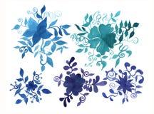 Elementos pintados a mano para el diseño Flor de la acuarela Detalle botánico para las tarjetas, cartel, scrabooking, web, invita ilustración del vector