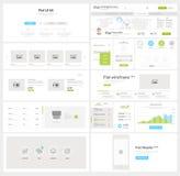 Elementos planos de la navegación del sitio web con las banderas y los iconos del concepto stock de ilustración