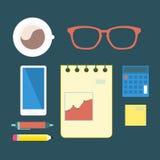 Elementos planos de la oficina stock de ilustración