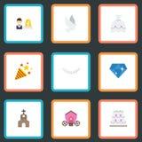 Elementos planos de los iconos carro, del vestido de boda, brillantes y otro del vector El sistema de casarse símbolos planos de  Foto de archivo libre de regalías
