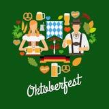 Elementos planos de Oktoberfest ilustración del vector