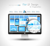 Elementos planos del diseño de UI para los elementos planos del diseño de WUI para el web, Infographics ilustración del vector