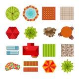 Elementos planos del diseño del paisaje del estilo Fotografía de archivo libre de regalías
