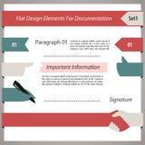 Elementos planos del diseño para la documentación Set1 Fotografía de archivo