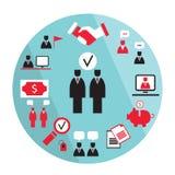 Elementos planos del negocio del diseño Sociedad, concepto del éxito de la ganancia del dinero stock de ilustración