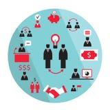 Elementos planos del negocio del diseño Sociedad, concepto del éxito de la ganancia del dinero ilustración del vector