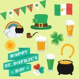 Elementos planos el día de St Patrick conjunto bandera Imagen de archivo