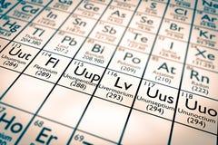Elementos químicos novos descobertos! Fotografia de Stock Royalty Free
