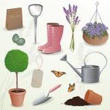 Elementos que cultivan un huerto Imagen de archivo
